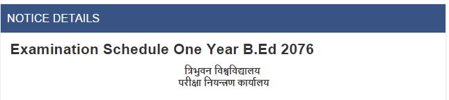 Examination Schedule One Year B.Ed 2076