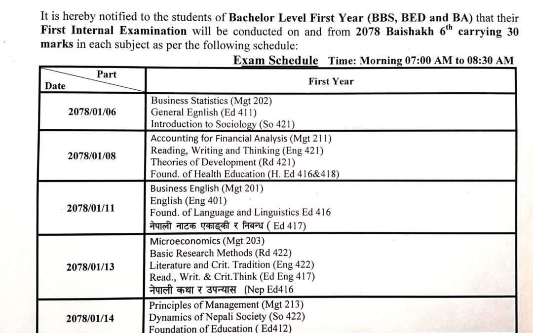 First Internal Examination Schedule  2077 for Bachelor First Year(New)